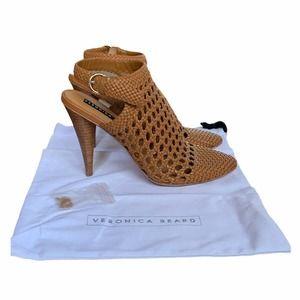 Veronica Beard Livia Crochet Sandal Cone Heels 10